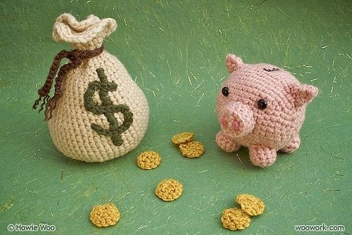 Crocheted piggy bank and money bag