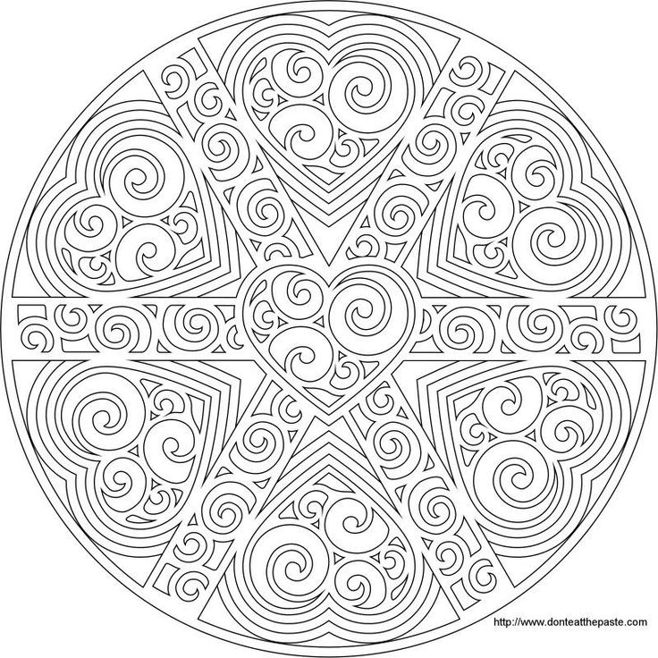Swirled Heart Mandala To Print And Color Also Available As A Transparent PNG