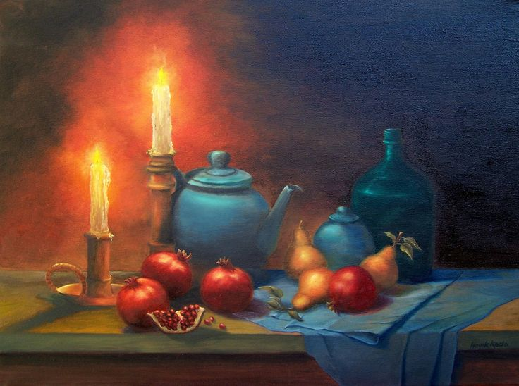 Original oil  Painting  on Canvas- Original artwork-Still Life- Candlelight Melody. by Hoviksgallery on Etsy