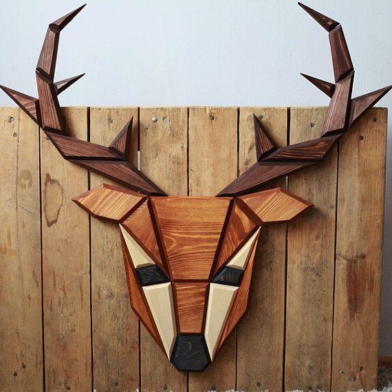 decoración de la pared de madera de ciervo por POLIGON en Etsy