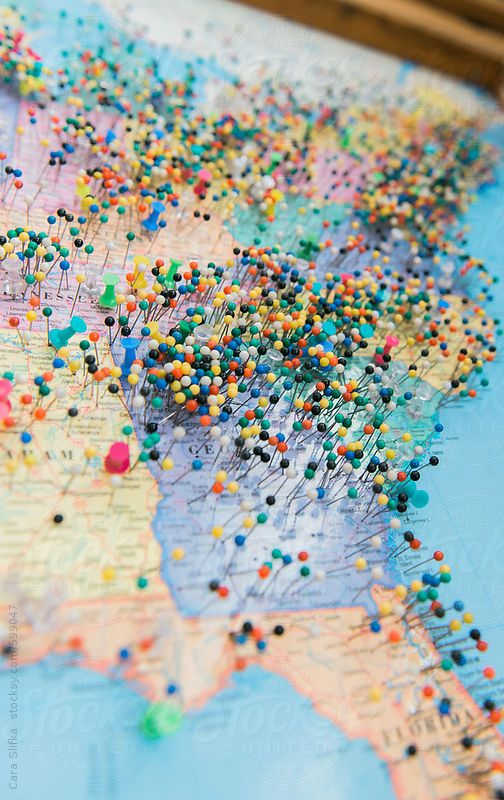 Push pins on a map of the United States by caraslifka   Stocksy United