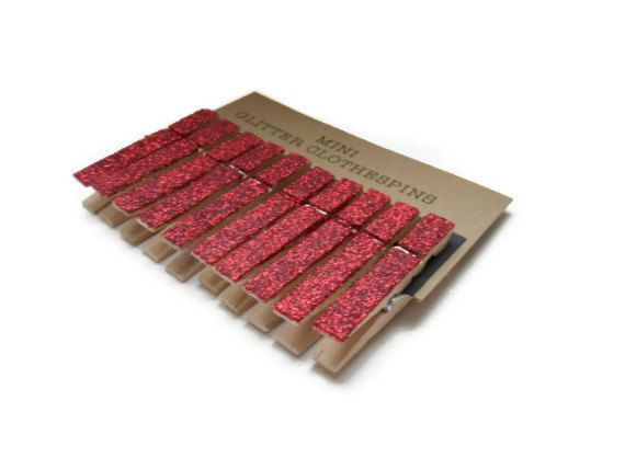 Mini Red Glitter Clothespins. Set of Ten 10. Red by RunningBlynd on Etsy $3.99