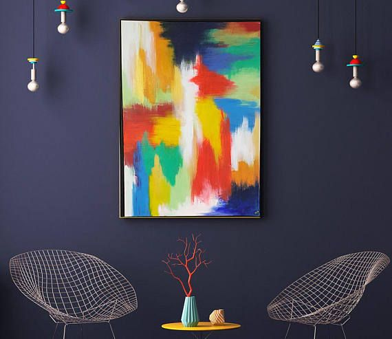 Abstract Rainbow Acrylic Painting Modern Style Wall Art Large