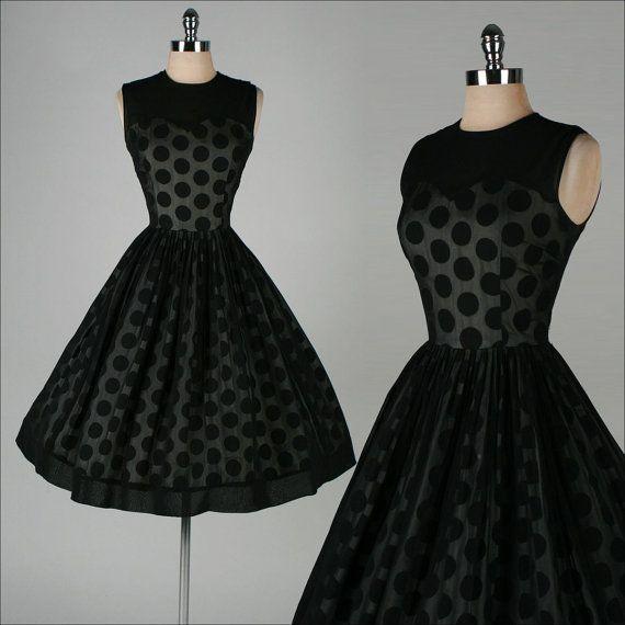 1950's Black Chiffon Polka Dot Dress -