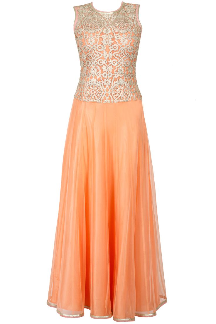 Peach embroidered low waist floor length anarkali available only at Pernia's Pop-Up Shop.