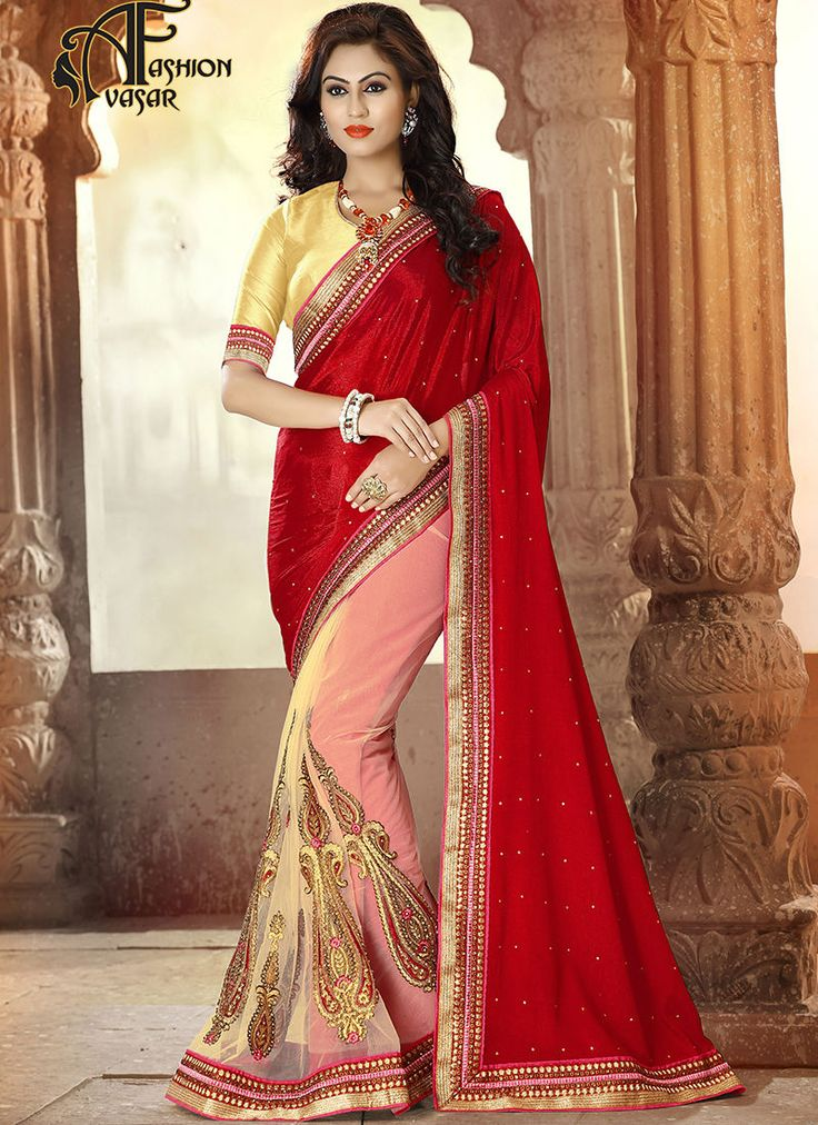satin net saree online shopping.Add a vibrant burst of color to the wardrobe with this Deep Scarlet & Salmon Net Saree. The ethnic Crystals & Stones work at