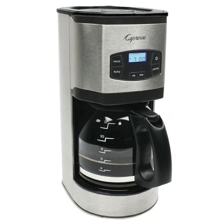 Silver Stainless Steel 12 Cup Glass Programmable Automatic Shut off Coffee Maker