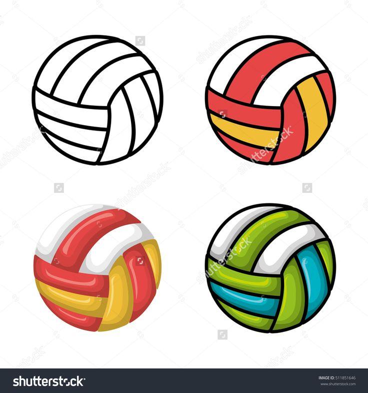 Volleyball Sport Ball Emblem Стоковое векторное изображение 511851646 : Shutterstock