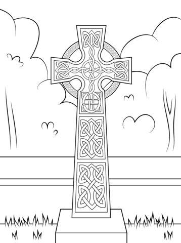 Croix celtique avec décorations Coloriage                                                                                                                                                                                 Plus