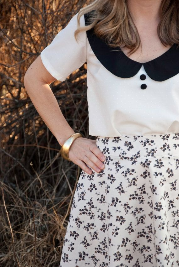 Black and White Peter Pan Collar Blouse on Etsy, $56.46