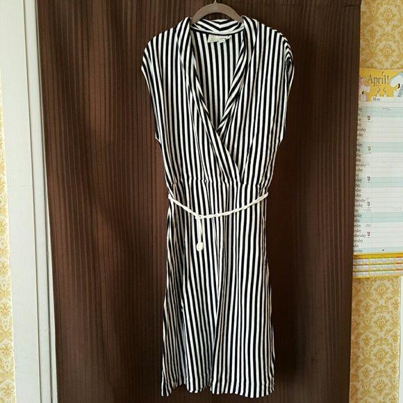 Anthropologie Navy white striped dress Nautical summer dress with rope belt. Nwot. Never worn. Anthropologie Dresses Midi
