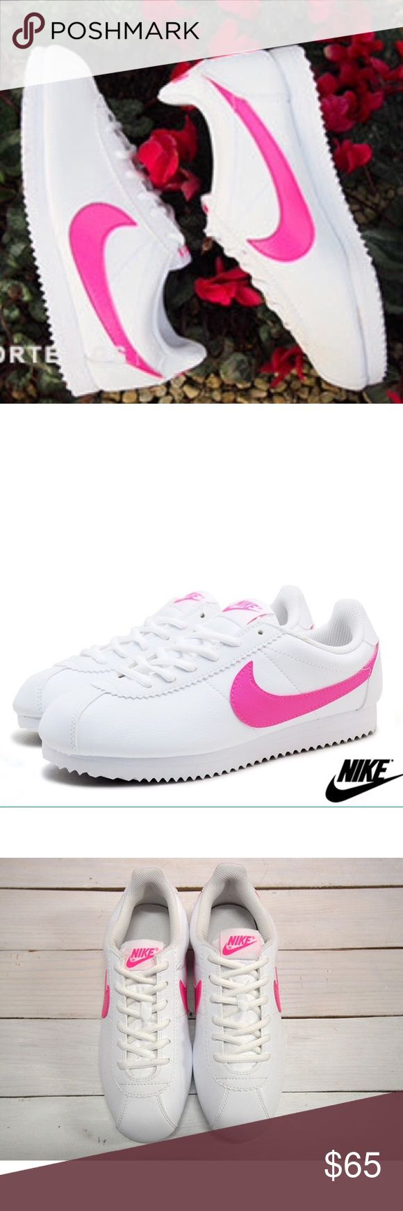 Nike Cortez white pink womens size 8.5 shoes Shoes are a size 7 youth which is a women's size 8.5. I added a sizing chart for reference. Brand new No box Nike Shoes Sneakers