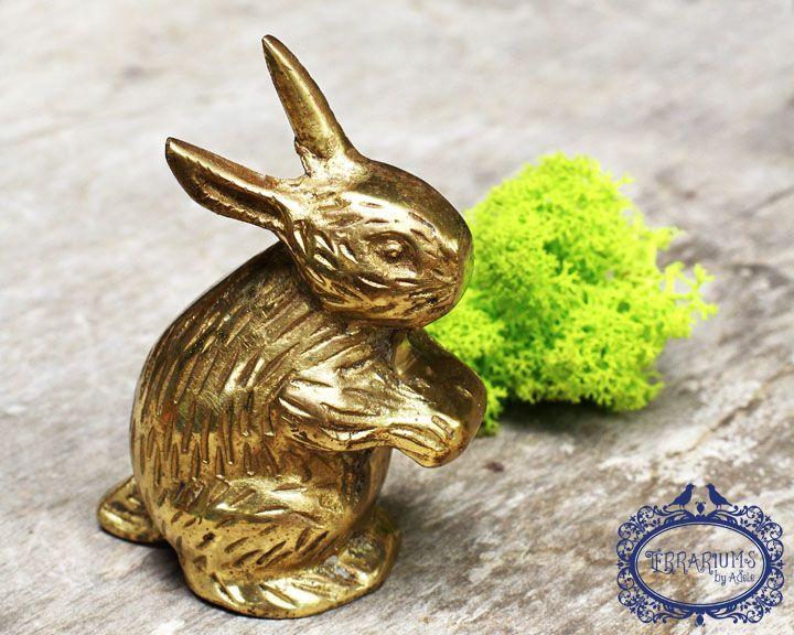 Solid brass rabbit, terrarium accessory. Follow Terrariums by Adele on Facebook.