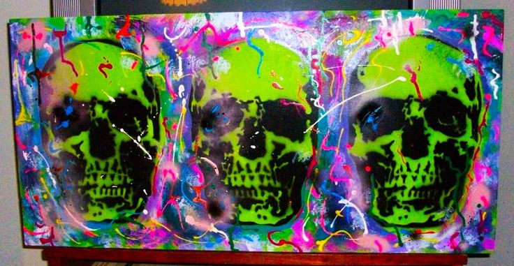 three psychedelic skulls by Nilla Piercing acrilic,spry paint and old tattoo color on wood #paint #acrilic #art #skull #psychedelic #psychedelicart #tattoocolor #color #fun #calaveras #teschio