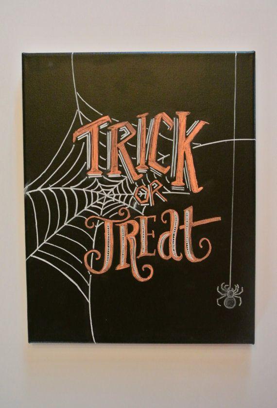 Halloween Chalkboard Art on Canvas: Trick or by nicolehragyil