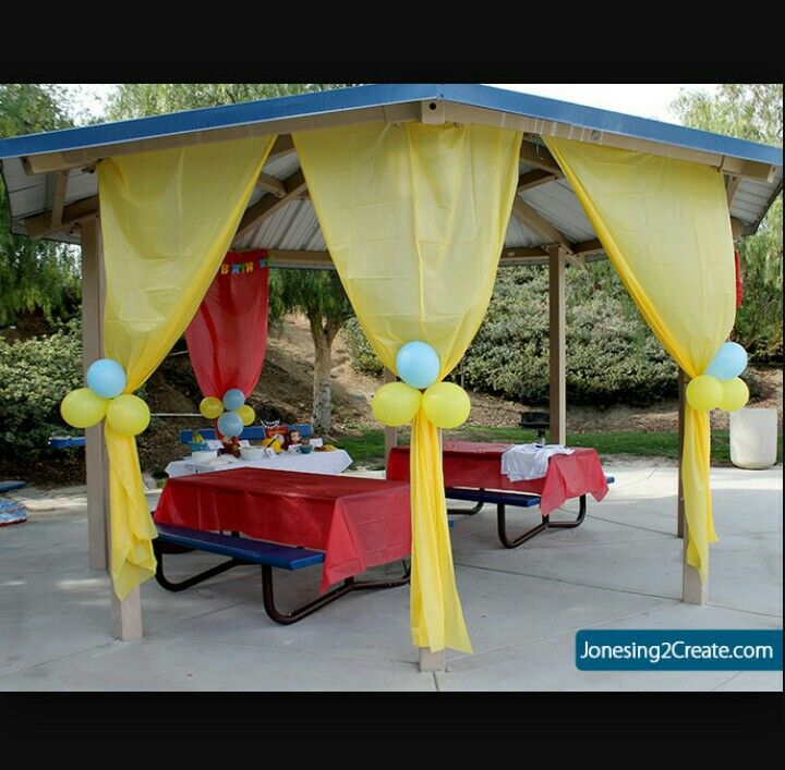 Party decor, only use red and white for curtains like a circus tent