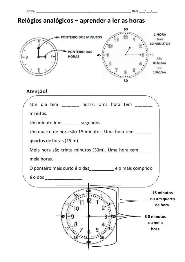 Nome:________________________________________________________ Data:___/___/___  Relógios analógicos – aprender a ler as ho...