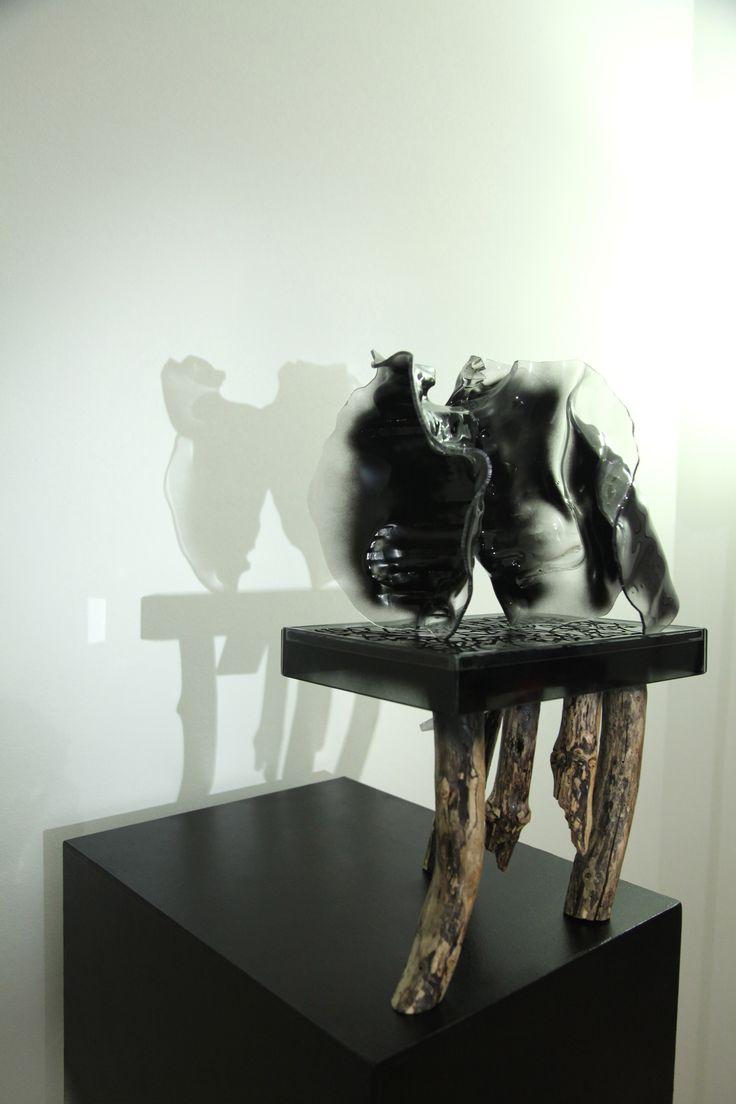 Matteo Berra, 2013, Piccola Spiegazione del cosmo, Vetro, smalti, ferro, legno, plastica polietilene, cm 48 x 30 x 20, detail.