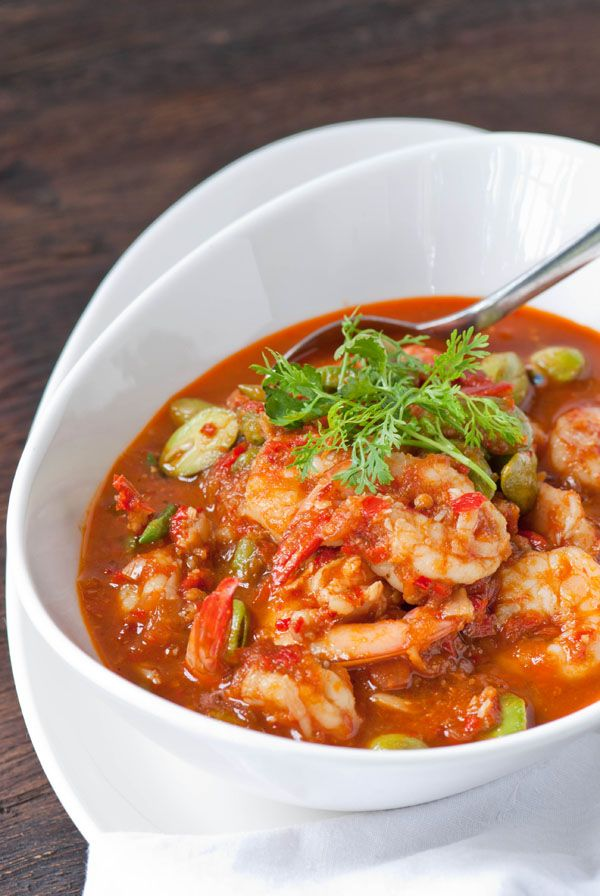 Spicy Prawns with Sataw Beans, Sambal Udang Petai