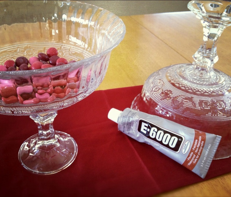 Dollar store candy dish and candle holder