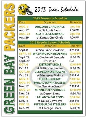 2013 Green Bay Packers Football Schedule Magnet | eBay