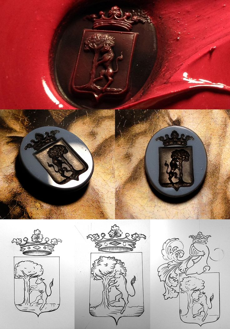 stratified agate seal engraved with a family crest. #signetring #engraving