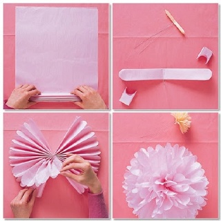 How to Make a Tissue Paper Pom Poms  Step 1 — Stack eight 20-by-30-inch sheets of tissue. Make 1 1/2-inch-wide accordion folds, creasing with each fold.  Step 2 — Fold an 18-inch piece of floral wire in half, and slip over center of folded tissue; twist. With scissors, trim ends of tissue into rounded or pointy shapes.  Step 3 — Separate layers, pulling away from center one at a time.  Now that your pom poms are made, begin gluing rows of pom poms onto your foam board backdrop using a hot…