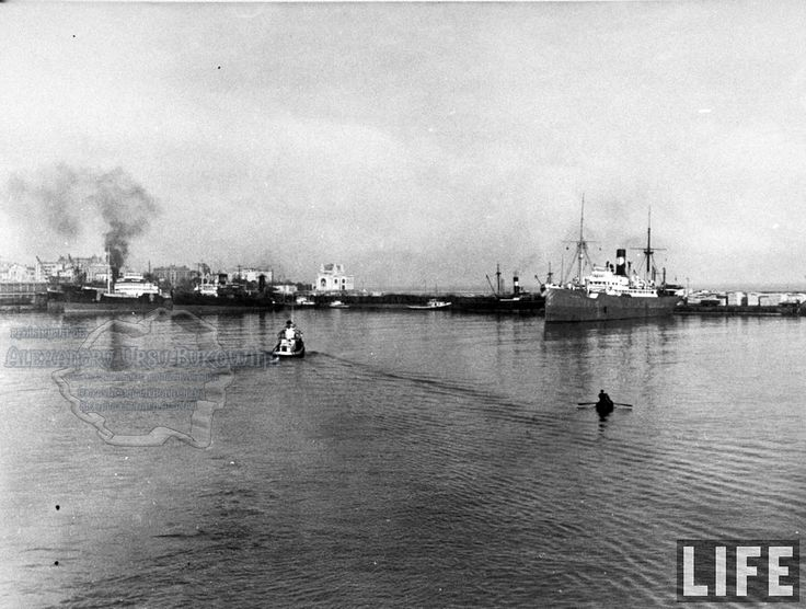 64a.View of Constanţa Harbour w. German ship 'Kalova' tied up a dock in bkgd.