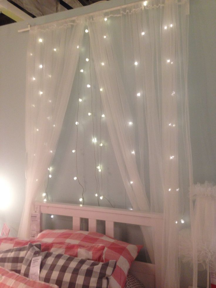 Fairy Light Voile Behind Bed Google Search Our Bedroom