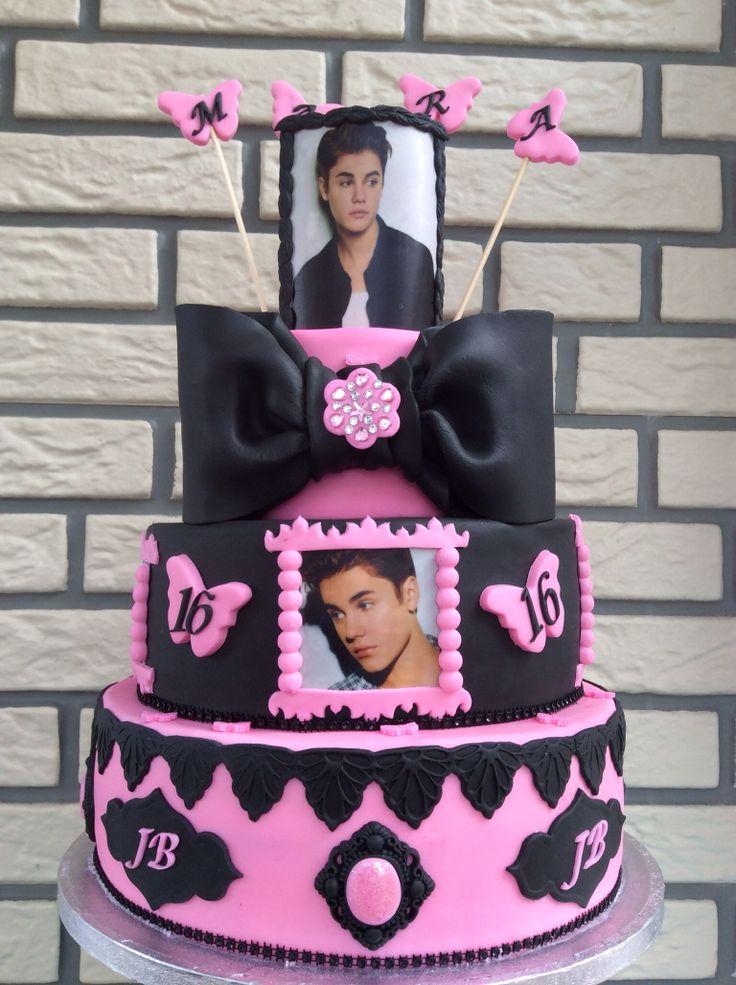 Justin Bieber Cake Taart pink Roze