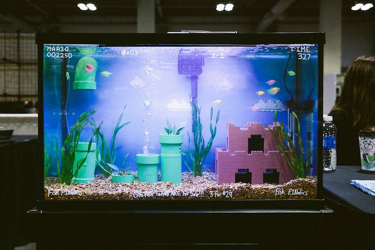 RetroGameCon 2014 - Fish Finatics (Malius NY) Mario  Black Light Fish Tank - ameliabeamish