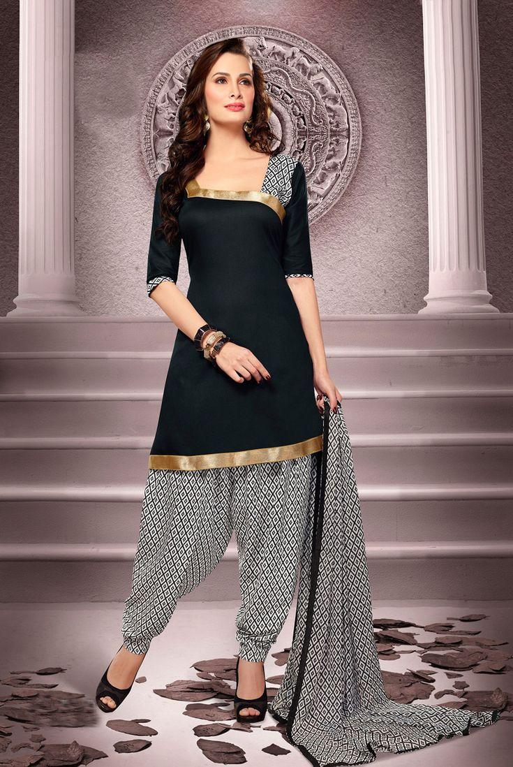 Black Cotton Patiala Salwar Kameez 43460