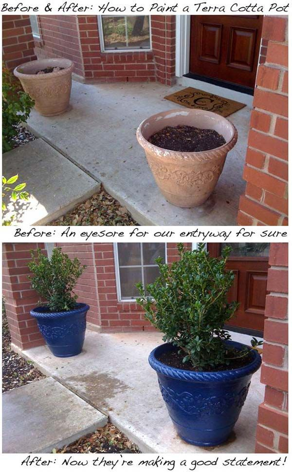 Increase curb appeal by painting the entryway terracotta pots. 30 Low-Budget Makeovers You Could Do With Spray Paint