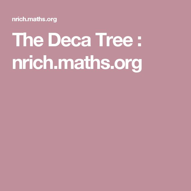 The Deca Tree : nrich.maths.org