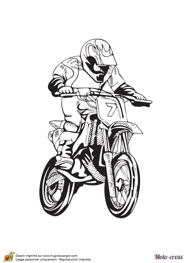 Coloriage d'un dessin affichant un homme roulant à fond sur le circuit avec son moto-cross