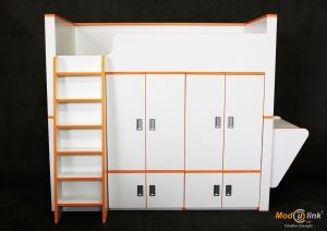 high cabin bed with wardrobe