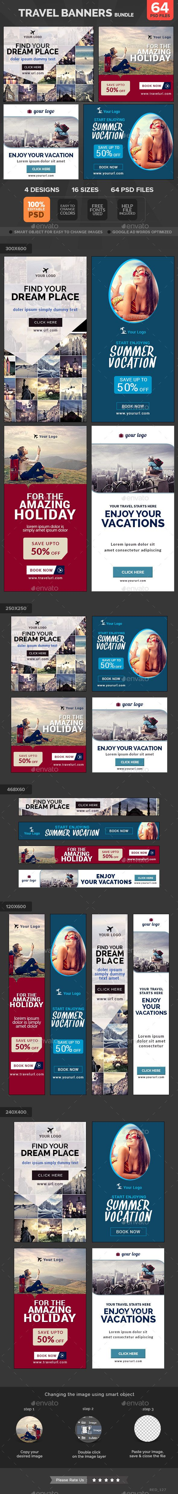 Travel Banners Bundle - 4 Sets - Banners & Ads Web Template PSD. Download here: http://graphicriver.net/item/travel-banners-bundle-4-sets/11259844?s_rank=1213&ref=yinkira