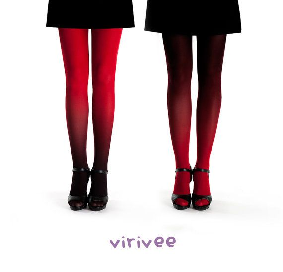2 ombre tights together red pantyhose by virivee on Etsy