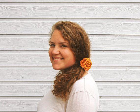 Flower hair tie  knitted hairband / hair elastic by FindingNorth