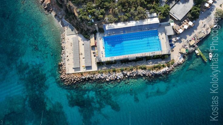 Vouliagmeni NC's swimming pool as seen from the air, Laimos Vouliagmeni, Attica, Greece.  © Kostas Kolokythas 2012
