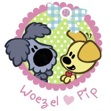 Woezel en Pip met strik.