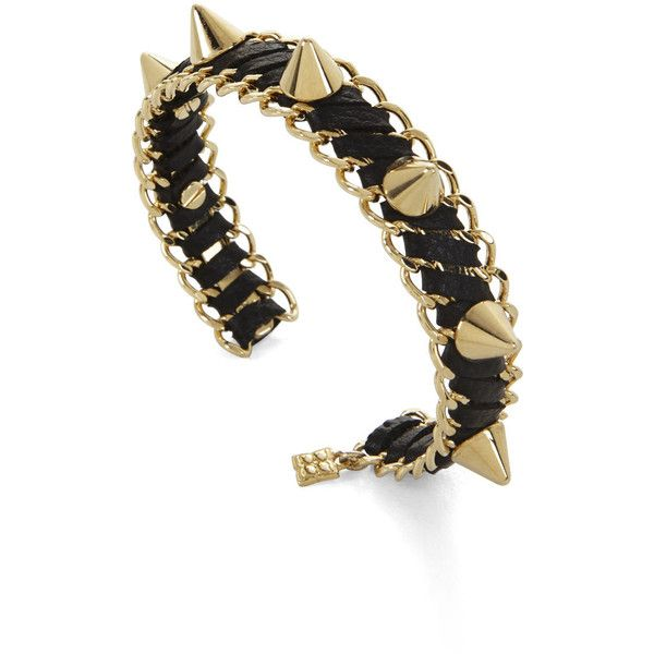 BCBGMAXAZRIA Studded Faux-Leather Cuff ($24) ❤ liked on Polyvore featuring jewelry, bracelets, black, fake jewelry, black cuff bracelet, studded bracelet, black spike bracelet and black bracelet