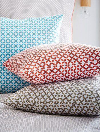 Coussin imprimé géométrique beige Linge de lit