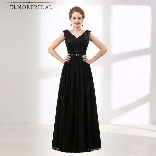 b815dbde1ef Ever Pretty Black Evening Dresses Long 2018 Robe De Soiree V Neck Women Formal  Dress Sequins Prom Party Gowns