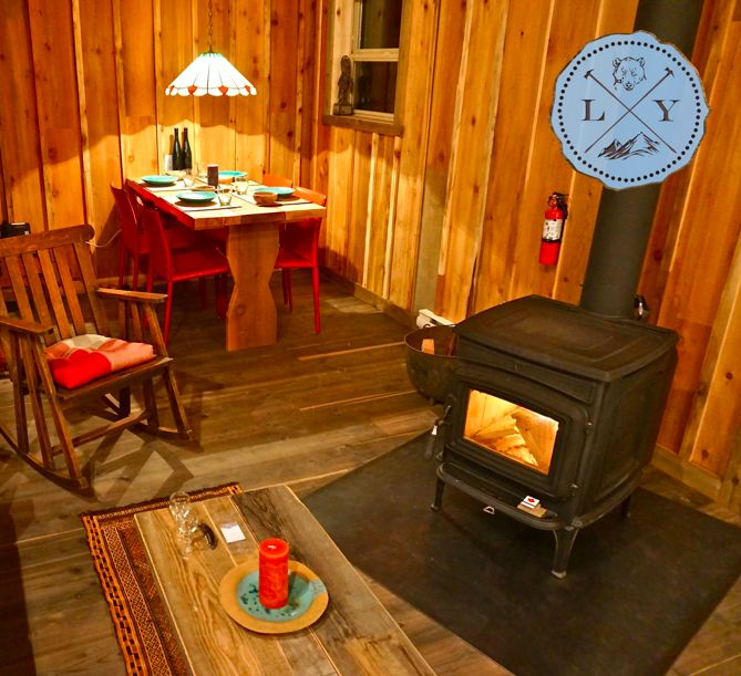 Warm up by the wood stove? Yes please.   Logden Lodge