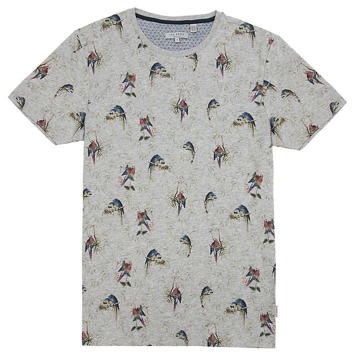 Buy Ted Baker Lazoo Parrot Print T-Shirt, Grey Marl, 3 Online at johnlewis.com