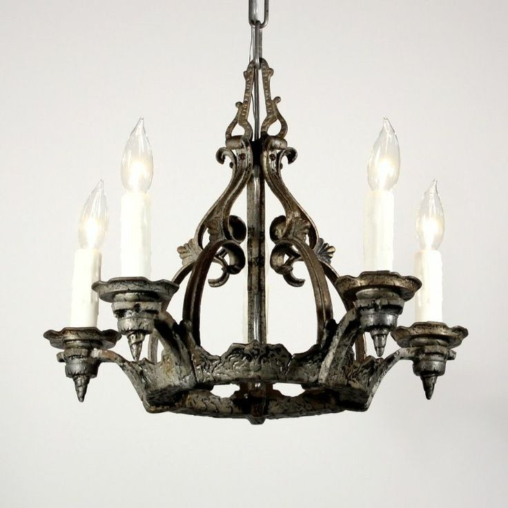 Handsome Antique Five Light Tudor Chandelier 14 best