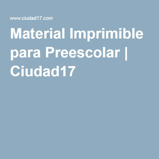 Material Imprimible para Preescolar | Ciudad17