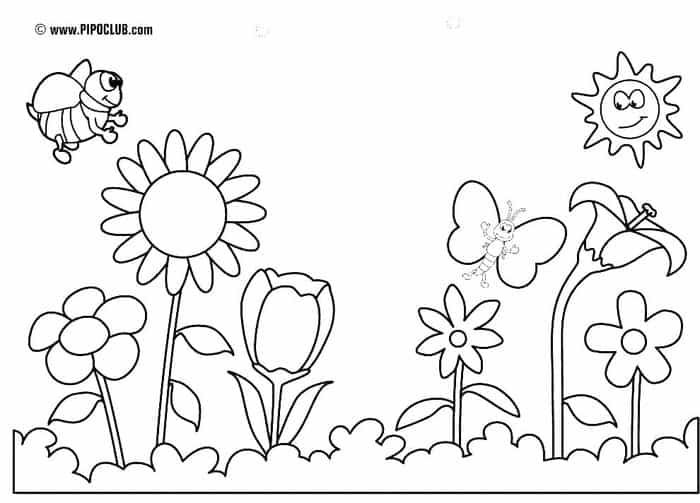 Preschool House in Spring coloring page for kids, seasons coloring ... | 503x700