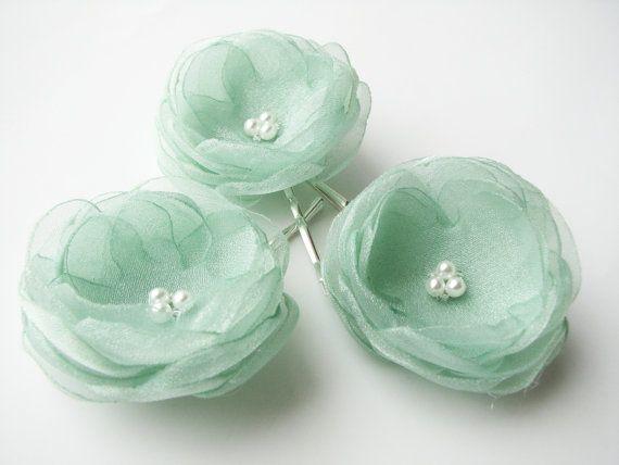 Mint green flower hair pins Wedding hair accessories Bridesmaid hair flowers Floral bobby pins
